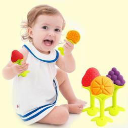 0-12 Months Baby Toys Silicone Fruit Shape Infant Teether To