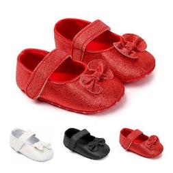 0-12M Baby Solid Walkers Infants Bowknot Casual Toddler Prin