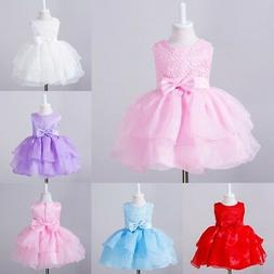 0-24Months Baby Tutu Tulle Toddler Girl Bow Lace Baptism Chr
