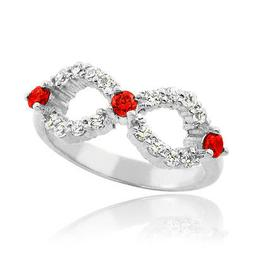 10k White Gold Infinity Birthstone CZ Ring Available in all