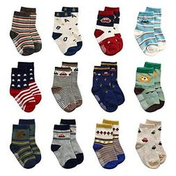 12 Pairs Baby Boys Toddler Non Skid Cotton Socks with Grip 1