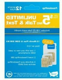 FreedomPop - 12-Month Prepaid Plan LTE 3-in-1 SIM Card Kit