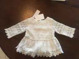 Kardashian Kids 12 Months Girls Off White Eyelet Long Sleeve
