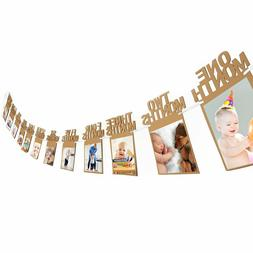 12 months photo banner baby shower 1st