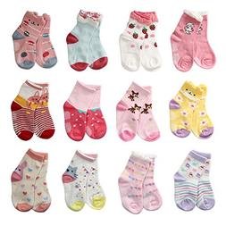 LAISOR 12 Pairs Assorted Non-Skid Ankle Cotton Socks with Gr