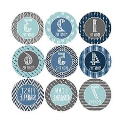 16 Blue Teal Baby Boy Milestone Stickers, 12 Monthly Photo P