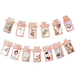 Whaline 1st Birthday Baby Photo Banner for Newborn to 12 Mon