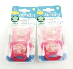 2 Packs Dr Brown Glow In The Dark Pacifiers Pink 6-12 Months