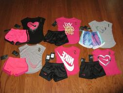 Nike 2 Pc Outfit Set Tee Shirt & Dri Fit Shorts Girls 12M/18