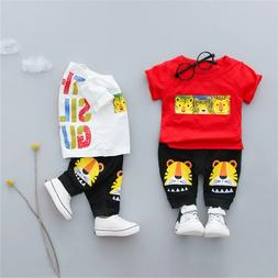 2PC Toddler Kid Baby Boy Girl Tiger Tee Tops Shorts Trousers