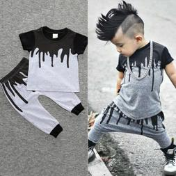 2pcs Infant Baby Kids Boys T-shirt Tops Harem Pants Leggings