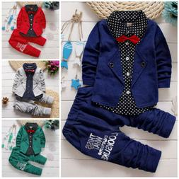2pcs Kids Baby clothes baby boys clothes cotton top+pants su