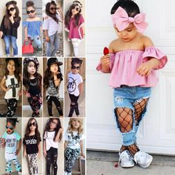 2pcs Kids Baby Girls Outfits Casual T-shirt Tops Long Pants