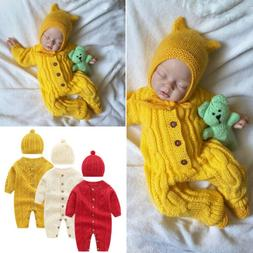 2PCS Newborn Baby Girl Boy Autumn Winter Clothes Sweater Jum