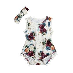 2Pcs Newborn Baby Girls Floral Romper Jumpsuit Outfits Headb