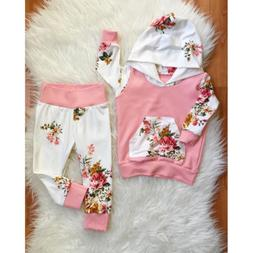 2PCS Newborn Baby Girls Infant Clothes Hooded Tops Leggings