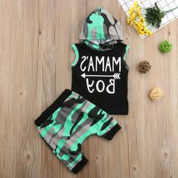 2pcs Summer Baby Boy T-shirt Tops Hooded+Short Pants Outfit