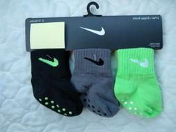 3 NIKE Boys Baby Non Slip Socks Booties Crib Shoes 6-12 Mont