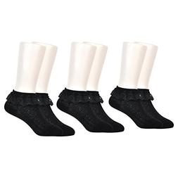 Epeius 3 Pair Pack Baby-Girls Eyelet Frilly Lace Socks Infan