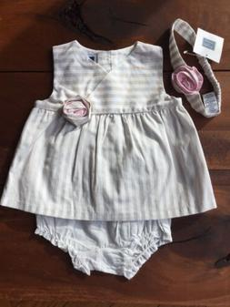 Janie and Jack 3 Piece Set Size 6-12 Months Girls Flower Pin