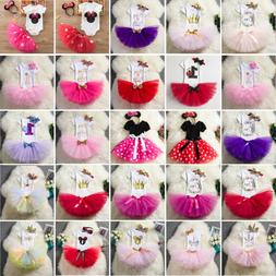 3pcs Baby Girl First Birthday Party Outfit Tutu Tuller Dress