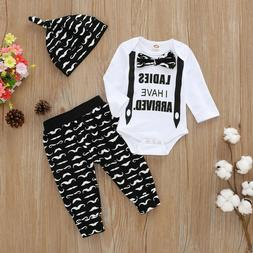 3PCS Newborn Baby Boys Gentleman Romper Tops+Pants+Hat Outfi