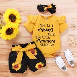 3PCS Newborn Baby Girl Clothes Romper Bodysuit Tops Shorts H