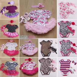 3pcs Newborn Baby Girl Jumpsuit Romper Dress Headband Shoes