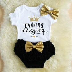 3PCS Newborn Baby Girl Outfit Clothes Tops Romper+Tutu Short