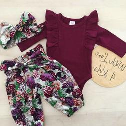 3PCS Newborn Baby Girls Tops Romper Floral Pants Headband Ou