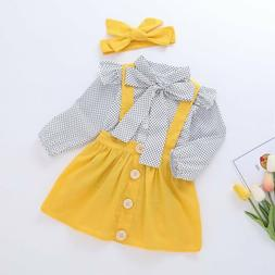3PCS Newborn Kids Baby Girls Clothes T-shirt Tops+Strap Dres