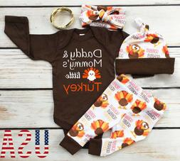 4Pcs Thanksgiving Gifts Clothes Infant Baby Boy Girl Tops Ro
