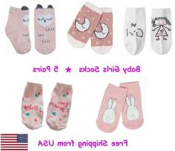 5 Pairs Baby Girl Socks with Anti-Slip Free Shipping from US