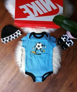 Nike Baby Boy 6-12M 6 9 12 Month Bodysuit Hat Booties Outfit Set NWT
