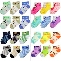 6 or 12-Pack NEWBORN Unisex Infant Baby Socks 0-6 Month