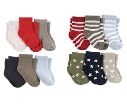 LUVABLE FRIENDS 6-PACK BABY BOYS COLORED CREW SOCKS 0-6 6-12