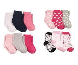 LUVABLE FRIENDS 6-PACK BABY GIRLS COLORED CREW SOCKS 0-6 6-1