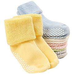 VWU 6 Pack Baby Socks with Grips Toddler Thick Cotton Socks