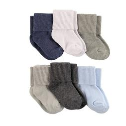 LUVABLE FRIENDS 6 PACK BASIC CUFF SOCKS BABY BOYS 0-6 6-12 1