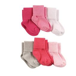 LUVABLE FRIENDS 6 PACK BASIC CUFF SOCKS BABY GIRLS 0-6 6-12