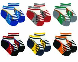 Liwely 6 Pairs Baby Boys Socks, Ankle Socks For 3 - 12 Month