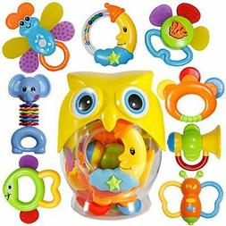 8 pcs Babies Grab Shaker Spin Rattle Toy Teether Owl Bottle