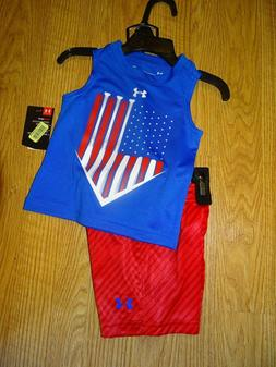 Under Armour Americana Muscle Tee & Shorts Set Size 12 Month