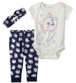 DISNEY ARISTOCATS MARIE BLUE 3 PIECE OUTFIT SIZE NB 3 6 9 12