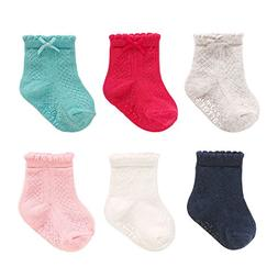 Carter's 6 Pack Assorted Color Socks with Bow Detail - 3-12