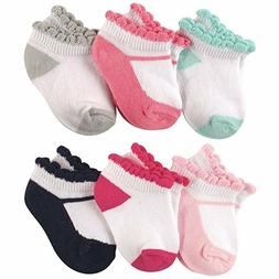 LUVABLE FRIENDS BABY 6-PACK NO SHOW ANKLE SOCKS 0-6 6-12 12-