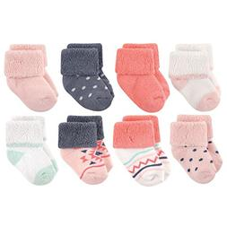 Luvable Friends Baby 8 Pack Newborn Socks, Girl Aztec, 6-12
