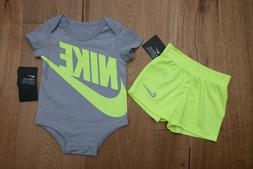 Nike Baby Boy 2 Piece Bodysuit & Shorts Set ~ Gray & Neon Ye