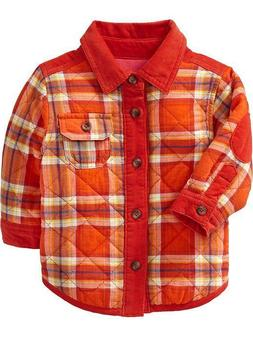 OLD NAVY Baby Boy Fully Lined Quilted Plaid Shirt Jacket Siz