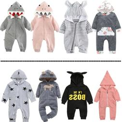 Baby Boy Girl Unisex Clothes Cute Hooded Romper Jumpsuit Pla